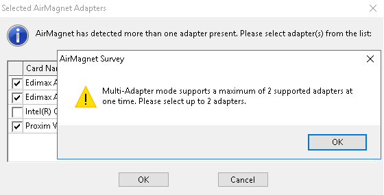 AirMagnet Survey Pro error when you try to select 3 or more adapters