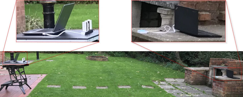 Source and receive equipment setup across my garden with an exploded image of each end,