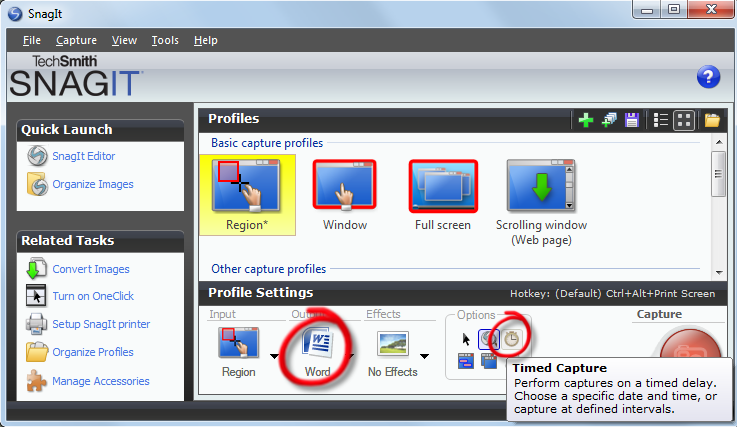 Snagit screenshot highlighting Export to Word and Timed capture settings